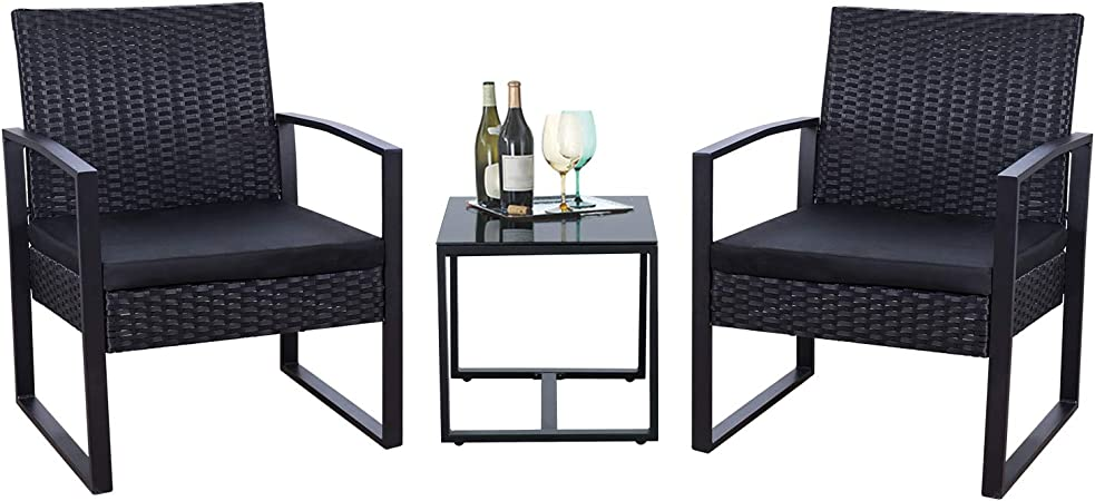 Amazon Com Flamaker 3 Pieces Patio Set Outdoor Wicker Patio Furniture Sets Modern Bistro Set Rattan Chair Conversation Sets With Coffee Table For Yard And Bistro Black Garden Outdoor