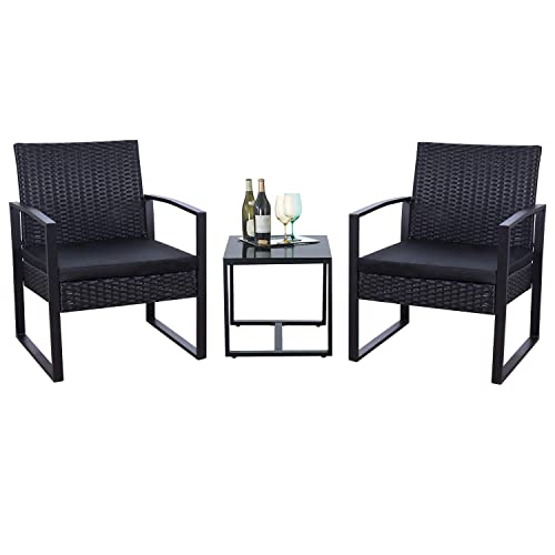 Flamaker 3 Pieces Patio Set Outdoor Wicker Patio Furniture Sets Modern Bistro Set Rattan Chair Conversation Set