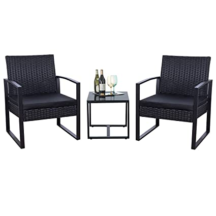 Astonishing Flamaker 3 Pieces Patio Set Outdoor Wicker Patio Furniture Sets Modern Bistro Set Rattan Chair Conversation Sets With Coffee Table Black Download Free Architecture Designs Scobabritishbridgeorg