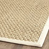 Safavieh Natural Fiber Collection NF114J Basketweave Natural and Ivory Summer Seagrass Area Rug (2' x 3')