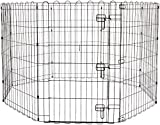 dog run house AmazonBasics Foldable Metal Pet Exercise and Playpen with Door, 36""