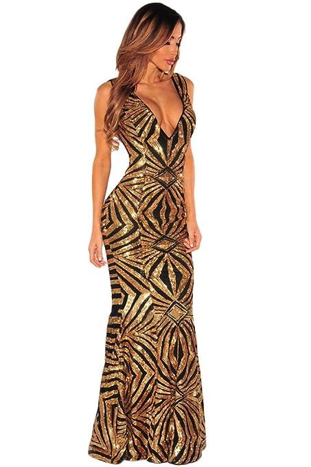 9ba1eab0c Elegante mujer largo negro y dorado Lentejuelas Noche Cóctel Fiesta Prom  Vestido Partido Danza desgaste tamaño