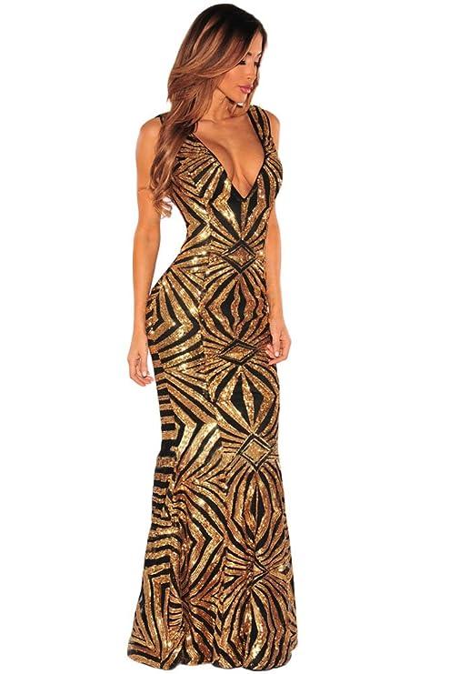 e7db10f51c3f New nero e oro vestito lungo abito da sera da cocktail party Wear Dress  abito vestito