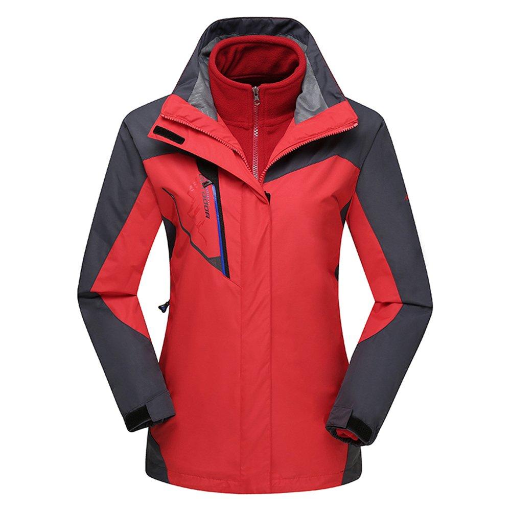 Rouge L(Height 160-165cm)(Weight 55-60kg) ehommesmoer Femme 3 en 1 Coupe-Vent Capuche Imperméable de plein air Veste de Camping Randonnée Trekking Sport Manteau