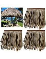 Mexican Plam Thatch Artificial Old Straw Tile Roof,PVC Materials,Flame Retardant Property Safer,for Tiki Hut Bar Garden Patio Deck Gazebos Wall(Size:10pcs,Color:Old Straw)