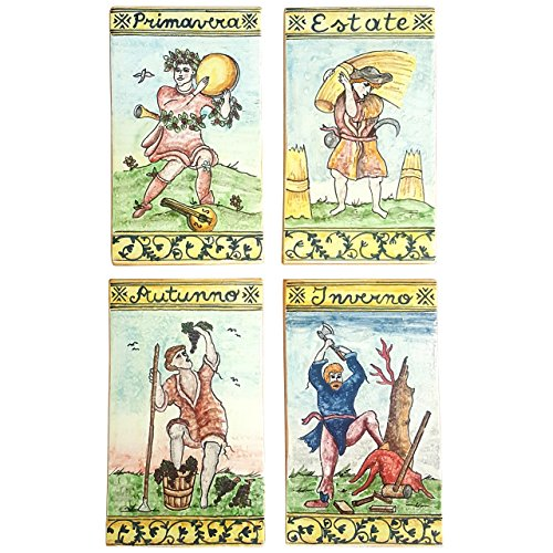 CERAMICHE D'ARTE PARRINI - Italian Ceramic Art Set 4 Tiles Pantiles Pottery Hand Painted Decorated Seasons Made in ITALY Tuscan by CERAMICHE D'ARTE PARRINI since 1979