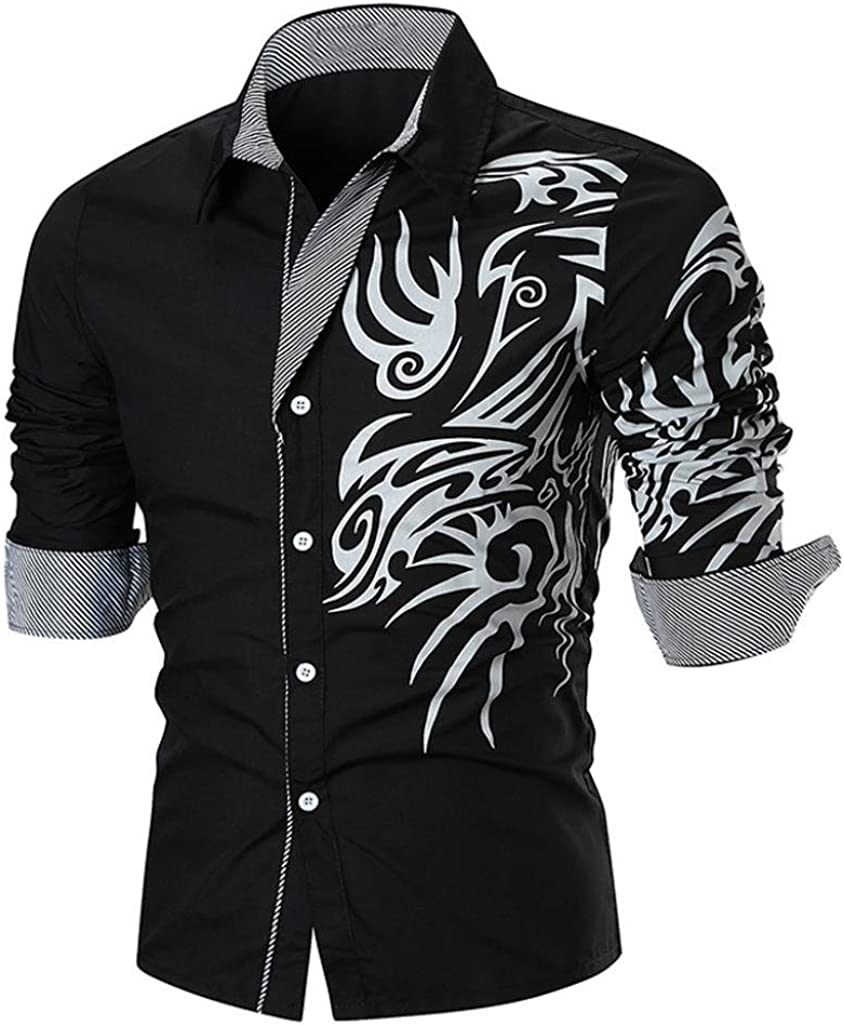Sumen Men Long Sleeve Fashion Luxury Design Print Dress Shirt Spring New Shirts