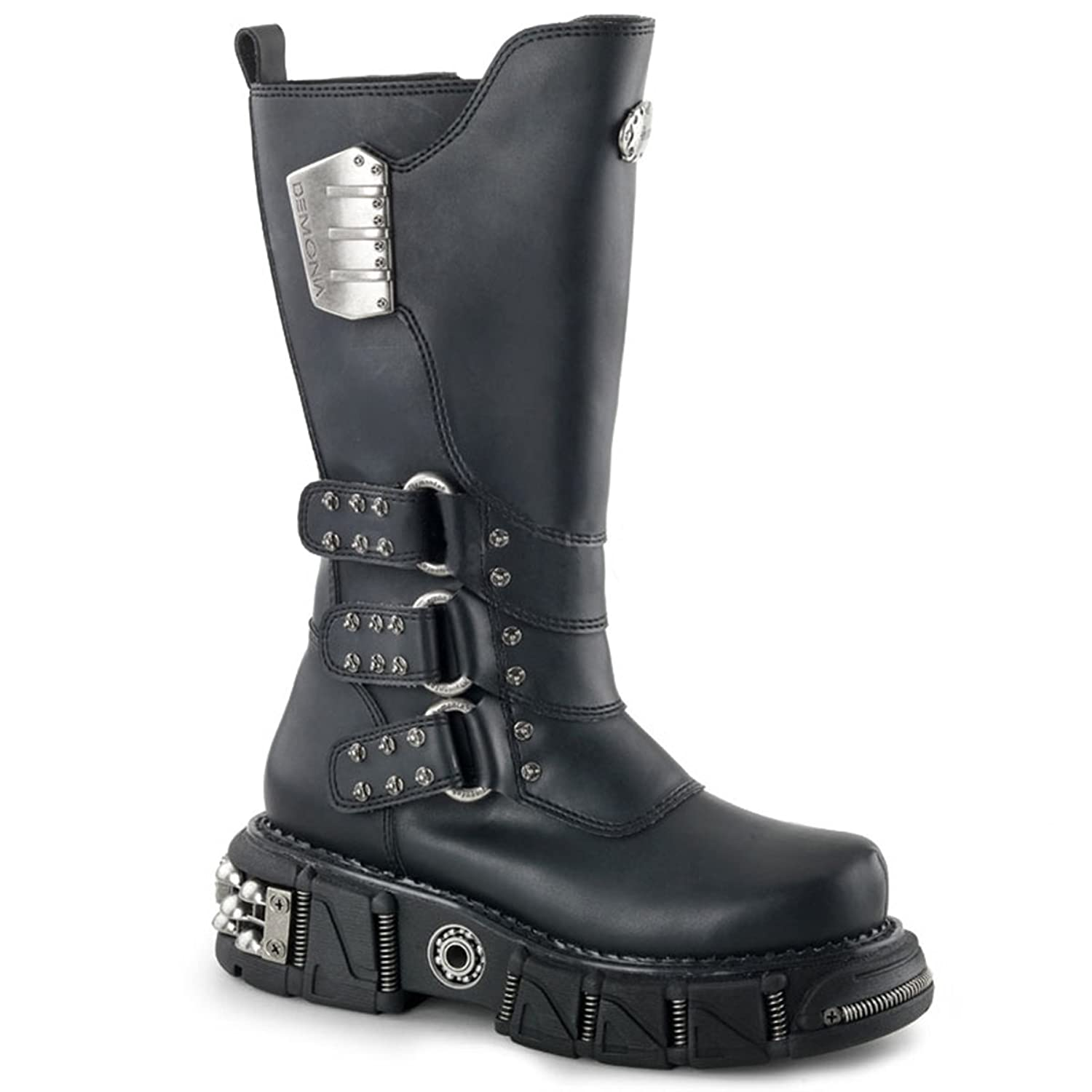 Mens 12.5'' Tall Black Vegan Boots with 2.5'' Sole and Velcro Shaft Closure