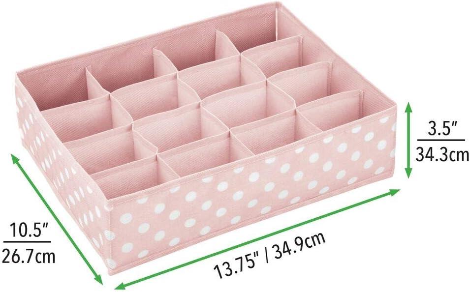 mDesign bo/îte de Rangement pour Chambre d/'Enfants Salle de Bain etc Module de Rangement avec 16 Compartiments bo/îte en Tissu en Fibre synth/étique Gris Clair//Blanc