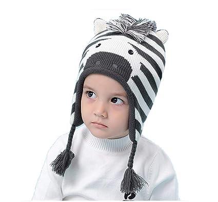 2d23bdce799 LifenewBaby Winter Hats Warm Kinted Wind Ears Caps for Baby Boys Girls-Zebra   Amazon.co.uk  Clothing