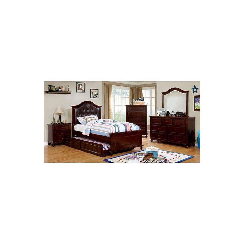 Walter Kids Leather PU Platform 4 Piece Full Bed, 1 Nightstand, Dresser, Mirror - Dark Walnut Wood