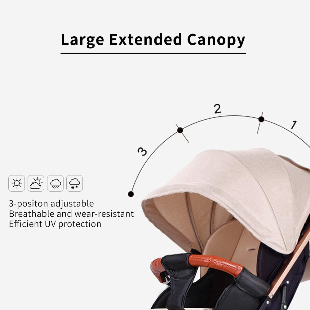 homese Baby Stroller High View Pram One Step Fold Lightweight Convertible Baby Carriage with Multi-Positon Reclining Seat Extended Canopy for Infant Toddler Pink