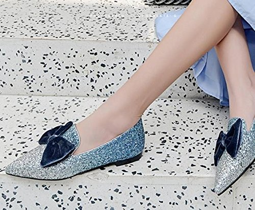 34 elegante La Sandalias pajarita una punta luz Azul base con y AJUNR plana en la Transpirable Moda 40 Twq5xfS