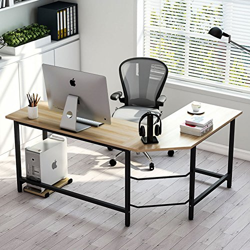 Tribesigns Modern L-Shaped Desk Corner Computer Desk PC Laptop Study Table Workstation Home Office, Wood & Metal (Walnut + Black Leg) by Tribesigns