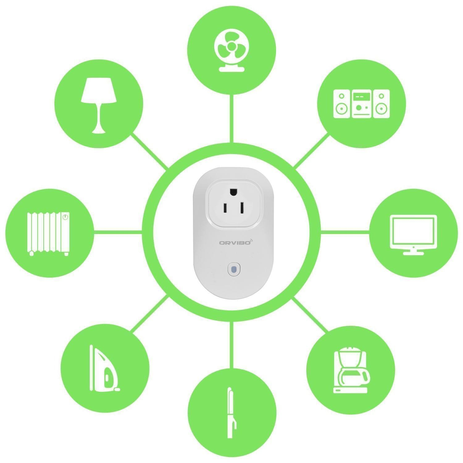 Orvibo Wi-Fi Smart Socket Outlet US Plug, Turn ON/Off Electronics from Anywhere, White (HomeMate-S25)