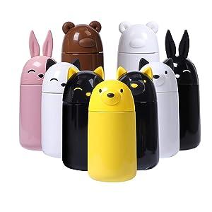 FACE Thermos - Borraccia termica per bambini, in acciaio INOX, con simpatici animali per bevande calde e fredde, 300 ml Yellow Dog