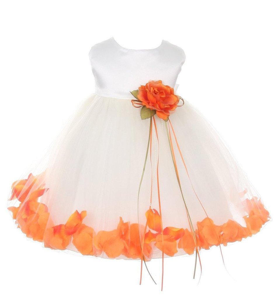 iGirlDress Baby Girls Satin Bodice Flower Pageant Petal Dress Infant 24mos Ivory/Orange