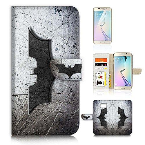 Samsung Galaxy ( S7 Edge ) Flip Wallet Case Cover & Screen Protector Bundle! A6324 Batman