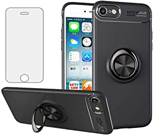 Phone Case for iPhone 6 6s with Tempered Glass Screen Protector Cover and Ring Holder Stand Kickstand Cell Accessories iPhone6 i6 S iPhone6s iPhine6s iPhones6s i Phone6s Phone6 6a S6 Cases Black