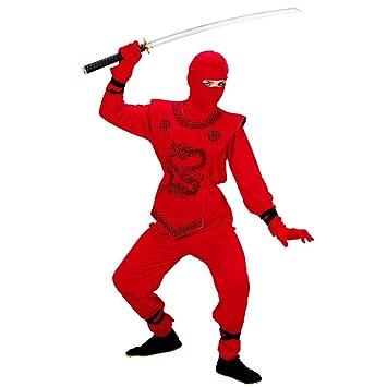 b56940a17dd0fb NET TOYS Costume de Ninja enfant en rouge déguisement ninja rouge 128 cm 5-7