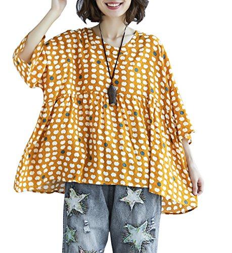 Jaune Femme GA1239 A Ample ELLAZHU Shirt T Dcontract La Floral Mode Lache avPRx
