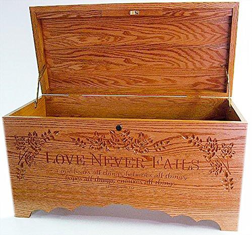 Allamishfurniture Amish Oak BLANKET HOPE CHEST STORAGE Carved Love Never - Blanket Oak Carved