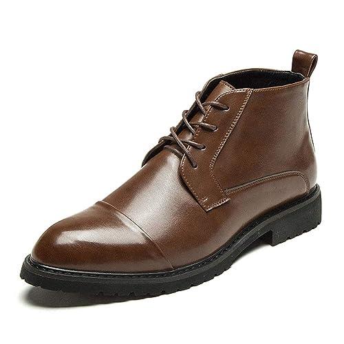 Botines Chelsea para Hombre Botines con Cordones Botas De Motocicleta con Cordones Zapatos Casuales Punta Estrecha Zapatos De Vestir De Negocios: Amazon.es: ...