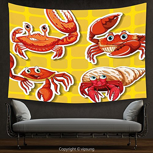House Decor Tapestry Crabs Decor Stickers of Four Different Crabs Ilustration Cartoon Style Print Earth Yellow and Orange Wall Hanging for Bedroom Living Room Dorm
