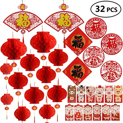 Chinese New Year Decoration - Paper Red Lantern Red Envelopes Hong Bao Chinese Fu Character Paper Window - Spring Festival Party Decor [32 pieces]