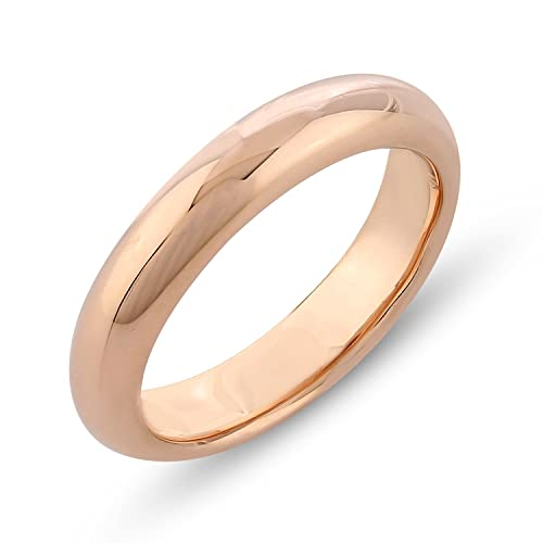 Amazon Com 4mm Band Width Rose Gold Plated Plain 925 Sterling