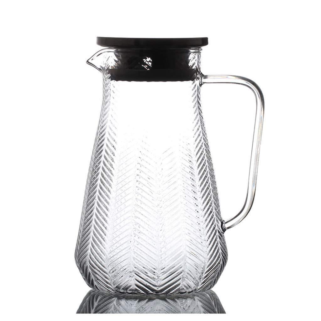 HEMFV Brocca in Vetro da 1500 ml per Uso Domestico con Coperchio per Acqua Calda/Fredda, Succo e caraffa per Bevande Fredde Prezzi