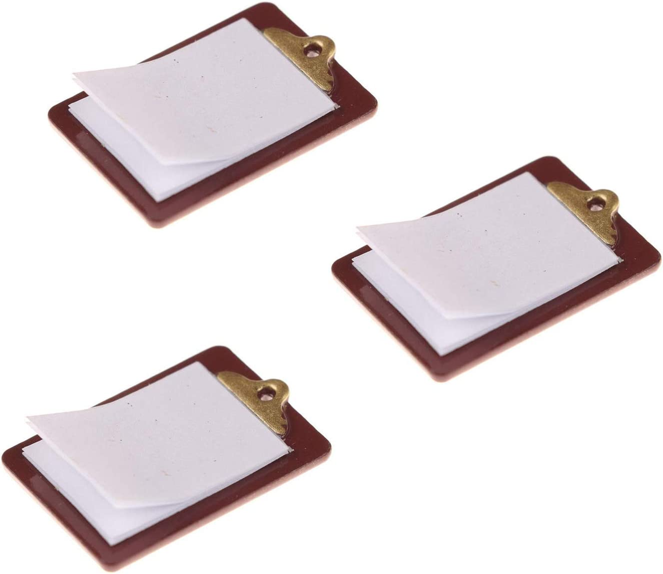 3 Pieces 18x21mm Mini Lovely Paper Clipboard Mini Clipboard Kids Dollhouse Toy House Miniature Accessories Dark Brown