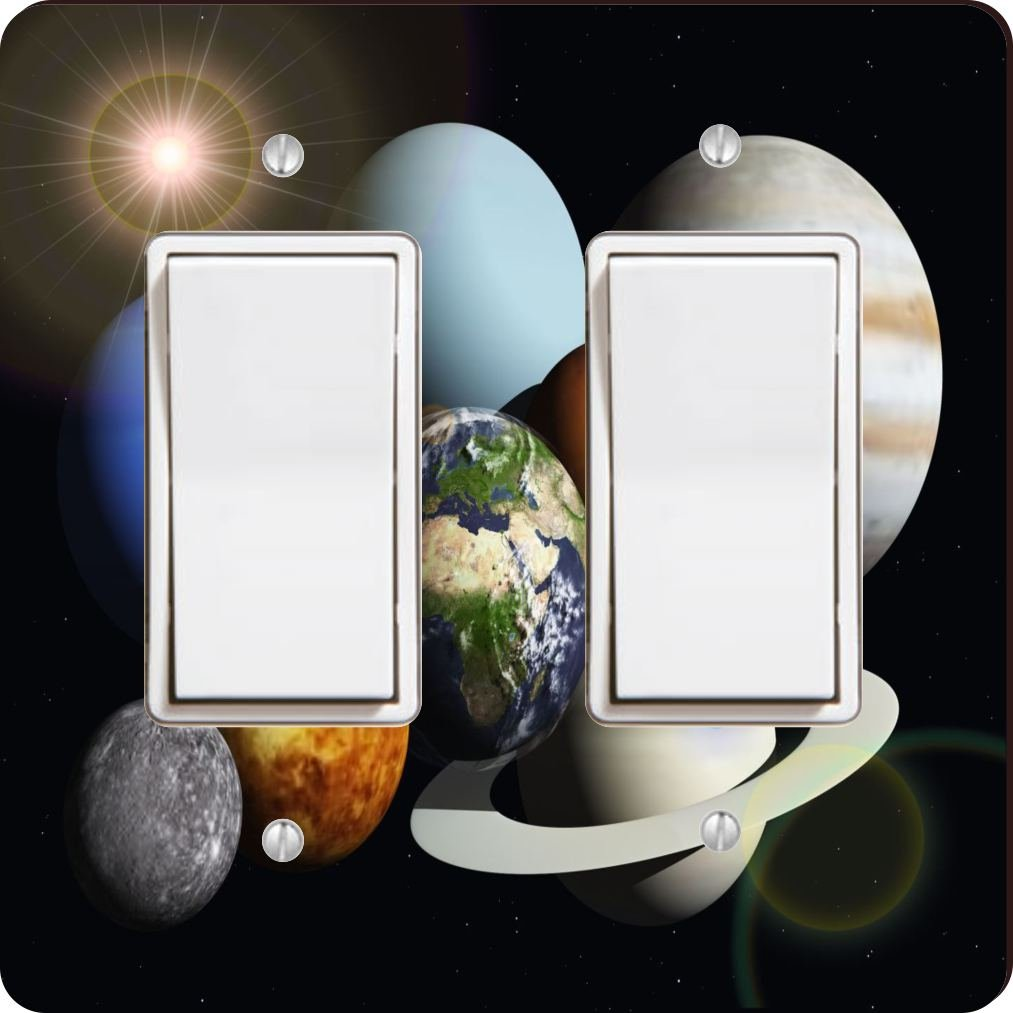 Rikki Knight Solar System Planets Design Double Rocker Light Switch Plate