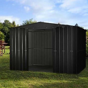Lotus 10 x 7 APEX Premium Metal cobertizo gris antracita con cerradura doble puertas correderas: Amazon.es: Jardín