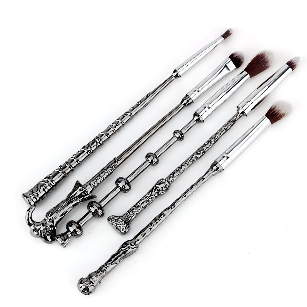 La Sante METAL Wizard Wand Potter Makeup Brushes with Gift Bag for Makeup 5pcs Magic Eye Shadow Eyeliner Blending Pencil Lip Brush Beauty Tools