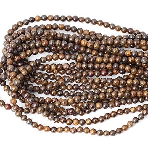"""CHEAVIAN 60PCS 6mm Natural Bronzite Gemstone Round Loose Beads for Jewelry Making DIY Handmade 1 Strand 15"""""""