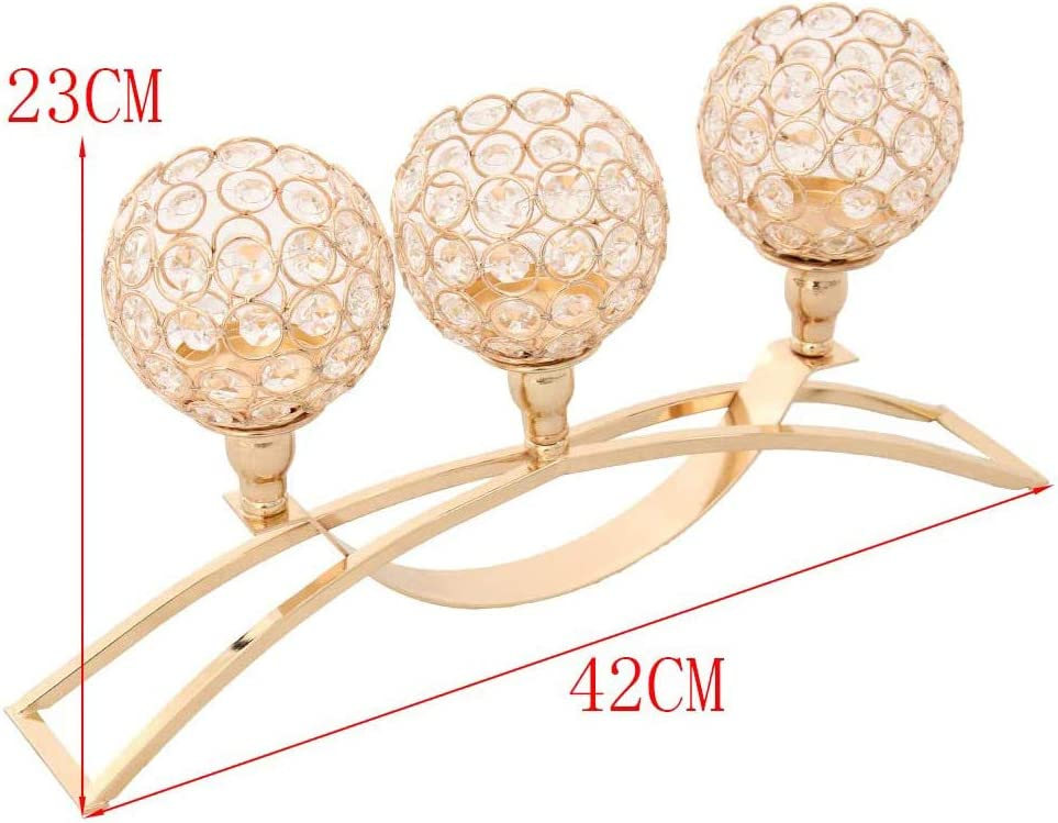 POFET Crystal Candle Holder Gold Halloween Decorations Table Centerpiece Christmas Ornaments for Living Room Glod