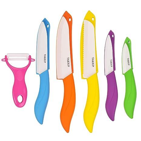 Amazon.com: Juego de cuchillos de cerámica, 6 piezas de ...