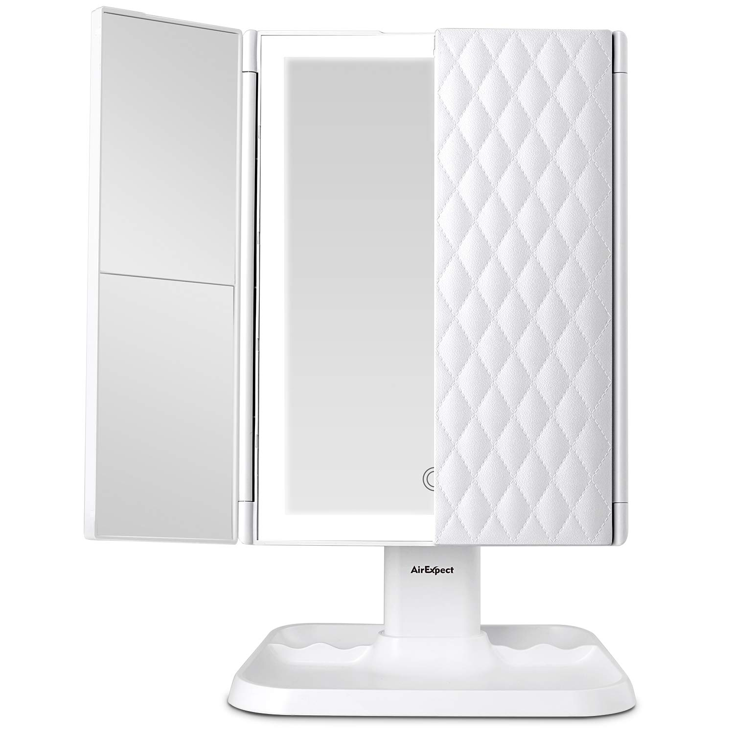 This is an image of a three-fold vanity mirror in color white, with stand.