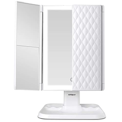 Makeup Mirror Vanity Mirror with Lights – 3 Color Lighting Modes 72 LED Trifold Mirror, Touch Control Design, 1x 2x 3x Magnification, Portable High Definition Cosmetic Lighted Up Mirror