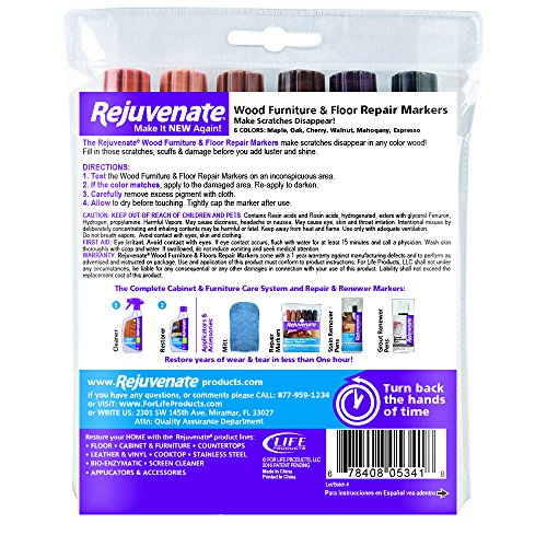 Rejuvenate Wood Furniture & Floor Repair Markers Make Scratches Disappear in Any Color Wood - 6 Colors; Maple, Oak, Cherry, Walnut, Mahogany, Espresso - 2