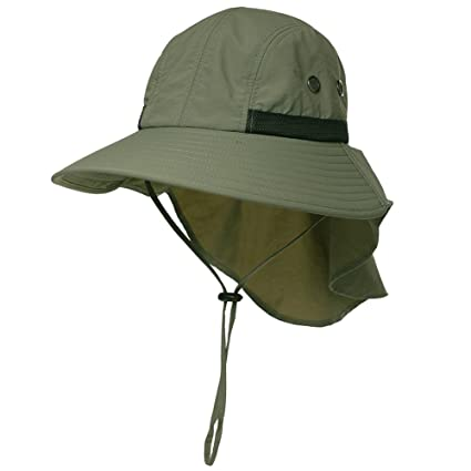 0321123b84c Mens Fishing Bucket Outdoor Flap Hiking Travel Garden Safari Sun Hat UPF  Protection Packable Army Green