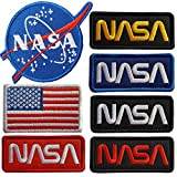 Lightbird 7 Pieces NASA Iron On Patches,Embroidered Iron On/Sew On Patch,NASA Patches,USA Flag Patch