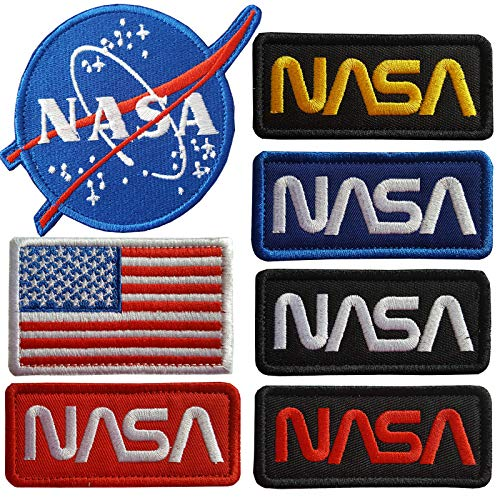 Nasa Patch - Lightbird 7 Pieces NASA Iron On Patches,Embroidered Iron On/Sew On Patch,NASA Patches,USA Flag Patch