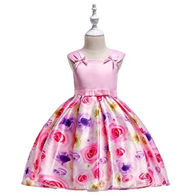 cb93f5755ef THE LONDON STORE Baby Girls Western Style Girls Frock Birthday Party Pink  Dress Bow Sleeves Flower Girls Rose Dress with Bow  Amazon.in  Clothing    ...