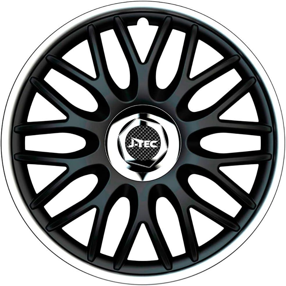 J Tec J14520 Satz Radzierblenden Orden R 14 Zoll Schwarz Silber Chrom Ringe Inch Auto
