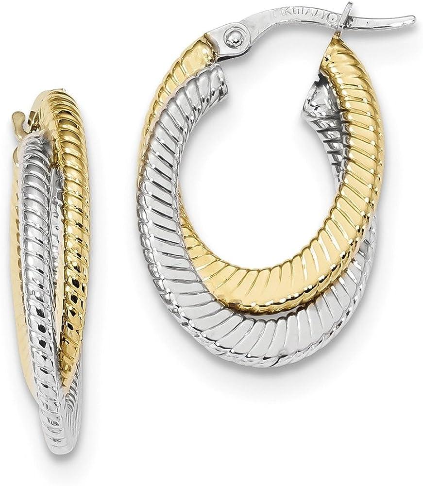 Lex /& Lu 14k Two-tone Gold Polished Textured Double Oval Hoop Earrings