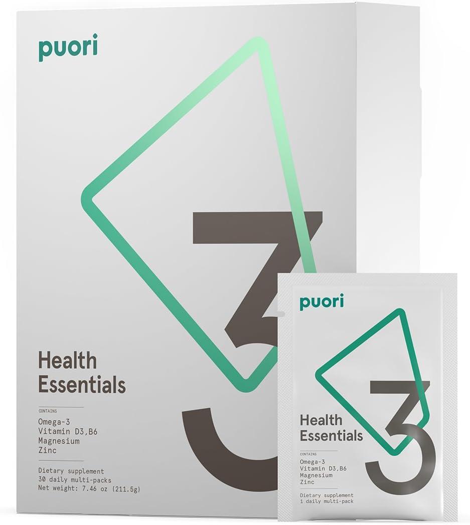 Puori – P3 Health Essentials Multivitamins for Men and Women, 30 Servings Omega 3, Vitamin D, Magnesium
