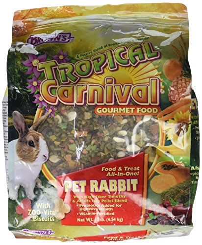 610fKO%2BCsCL - F.M. Brown's Tropical Carnival Gourmet Pet Rabbit Food with High-Fiber Timothy and Alfalfa Hay Pellets, Probiotics for Digestive Health, Vitamin-Nutrient Fortified Daily Diet