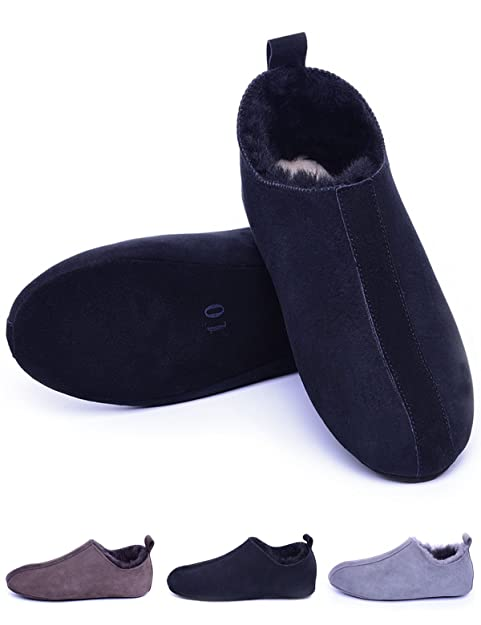men house slipper shoes shearling lined sheepskin soft leather sole